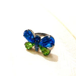 EUC Coach Faceted Crystal Butterfly Ring